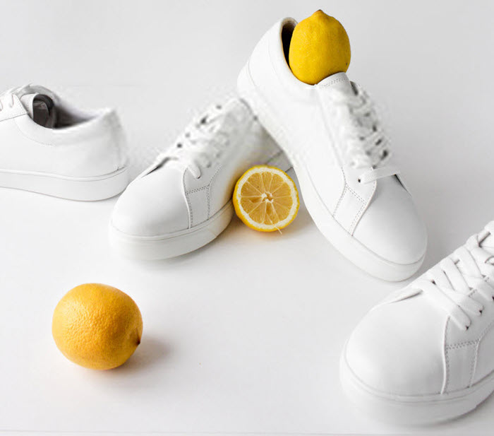 use lemon on white shoes to get rid yellow stains